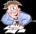Boy writing a fabulous story