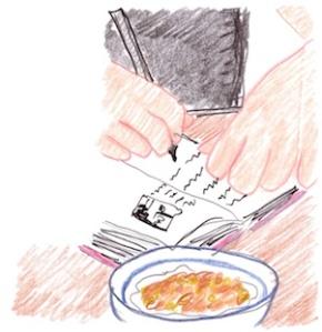 """Child writing, illustration by Greg Mitchell"""