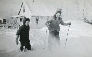 """Duncan Ball with his sister, Sally. 1949 ca Mountain View,  Alaska."""