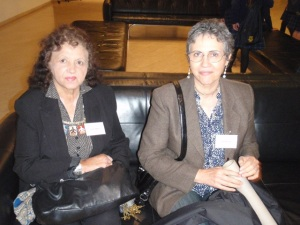 """Gladys Milroy and Sally Morgan waiting for their session to begin."""