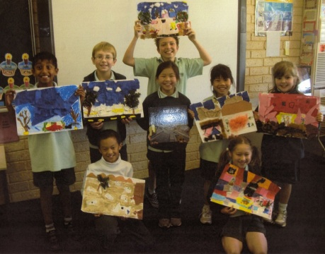 Winthrop Primary School students. The students also collaged their favourite page in the book. (Photo © Winthrop Primary School)