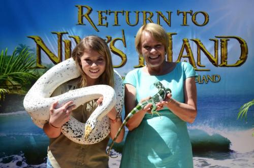 Wendy Orr with Bindi at the premiere of Return to Nim's Island. Photo by Ryan Makepeace.