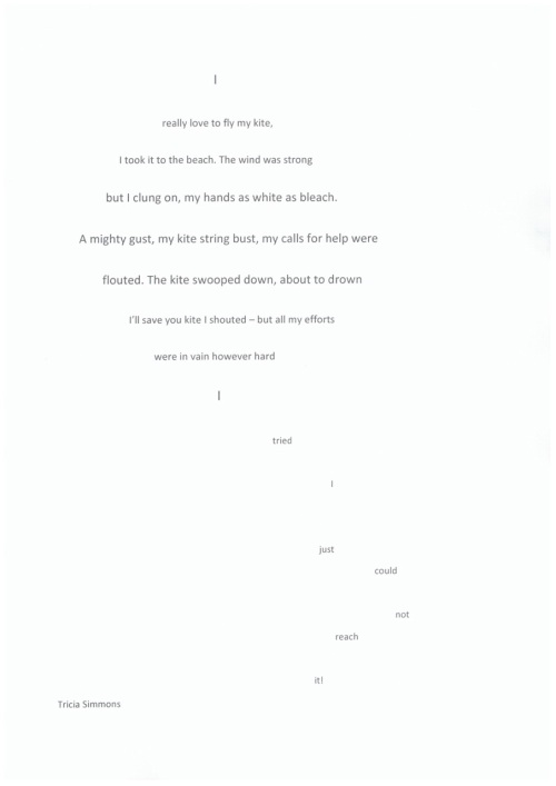 Shape poem by Tricia Simmons