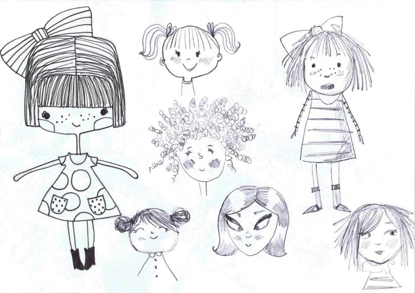 Tina's sketches for Tottie and Dot