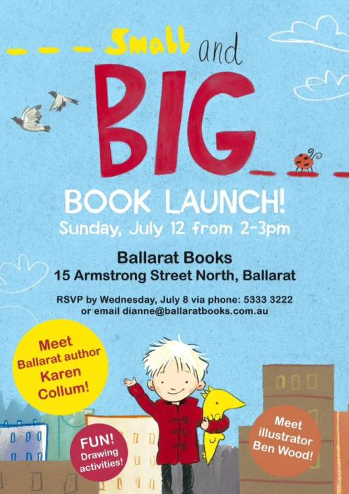 Book Launch, July 12 2015 at Ballarat Books, 15 Armstrong St North, Ballarat,2pm, RSVP phone 53333222