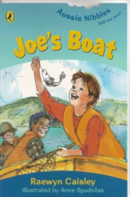Joe's boat (book cover showing child in a life jacket in a boat catching a fish)