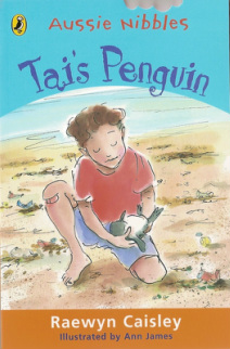 Tai's Penguin (book cover showing a boy on the shore cradling a small penguin)