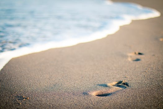 Footprints in beach Sand (photo courtesy of pexels.com)