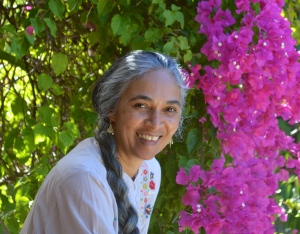 Yasmin Hamid in a garden. Photo courtesy Fremantle Press.