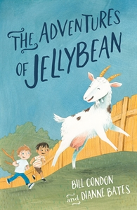 Book cover shows a white goat being chased by two small boys. In the background is a wooden fence on green grass and a clear blue sky.
