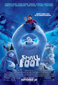 Matthew recommends the film Small Foot. The image is predominantly blue and shows a small boy in a red shirt being held aloft by a white Yeti-like creature.