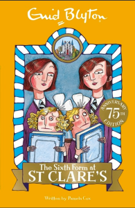 Anishka recommends THE SIXTH FORM AT ST CLARE'S by Enid Blyton. The cover is yellow and shows four girls in school uniform: two with brown hair and two with blonde curls and white bows. The girls with blonde hair are each holding a pale blue book and look guilty.