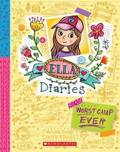 Worst Camp ever by Meredith Costain and Danielle McDonald (book cover is yellow and shows Ella as a girl with long brown hair wearing a pink baseball cap)