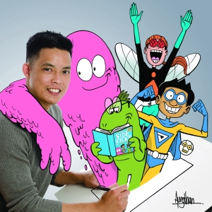 Gavin Aung Than with some of his characters