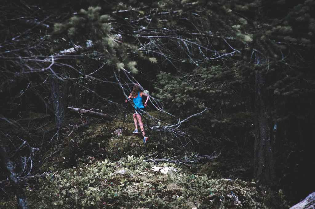 Photo courtesy Anthony Moore at pexels.com. Image shows a child in a blue shirt running through a forest